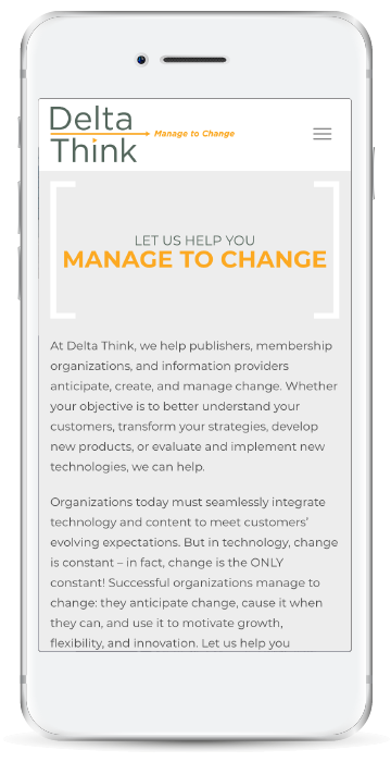 Delta Think Mobile Homepage