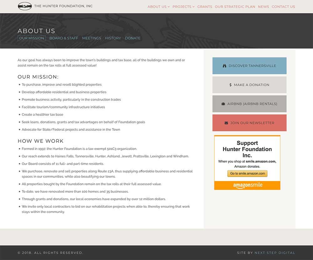 Hunter Foundation About Page Desktop