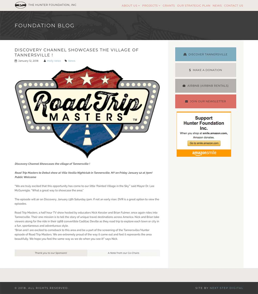 Hunter Foundation Blog Single Post Page Desktop