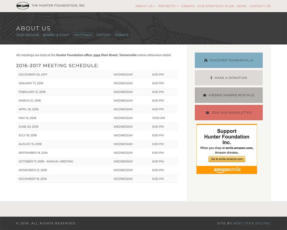 Hunter Foundation Meetings Page Desktop