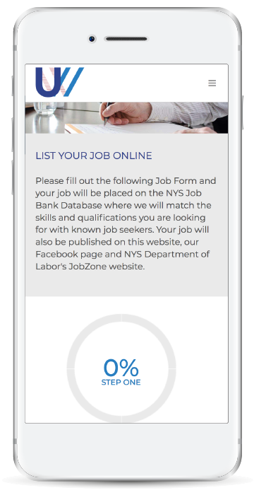 Ulster Works Job Form Mobile Page